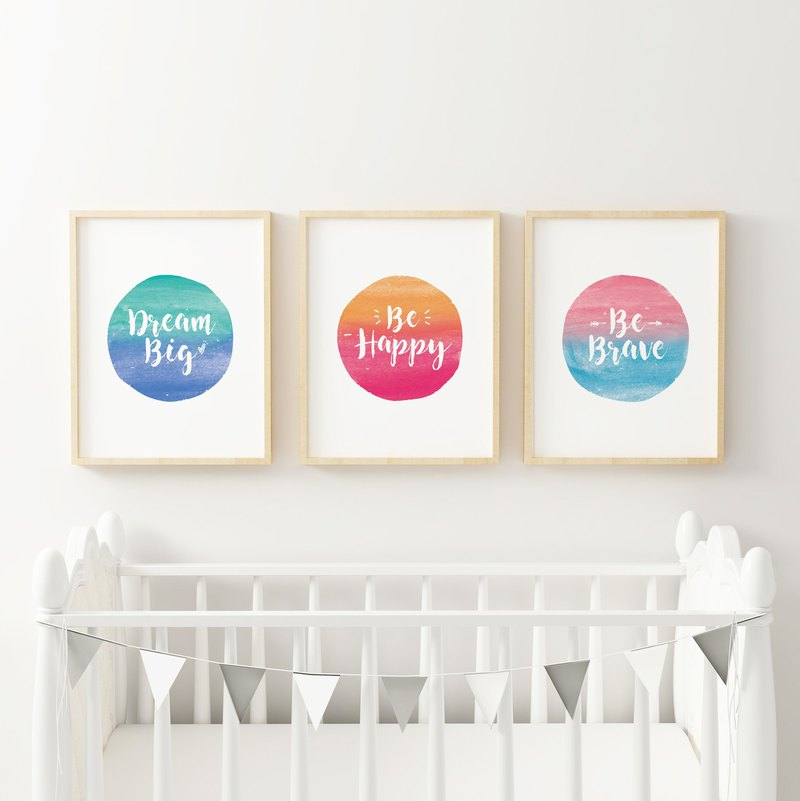 Rainbow Nursery Decor 可客製化 海報