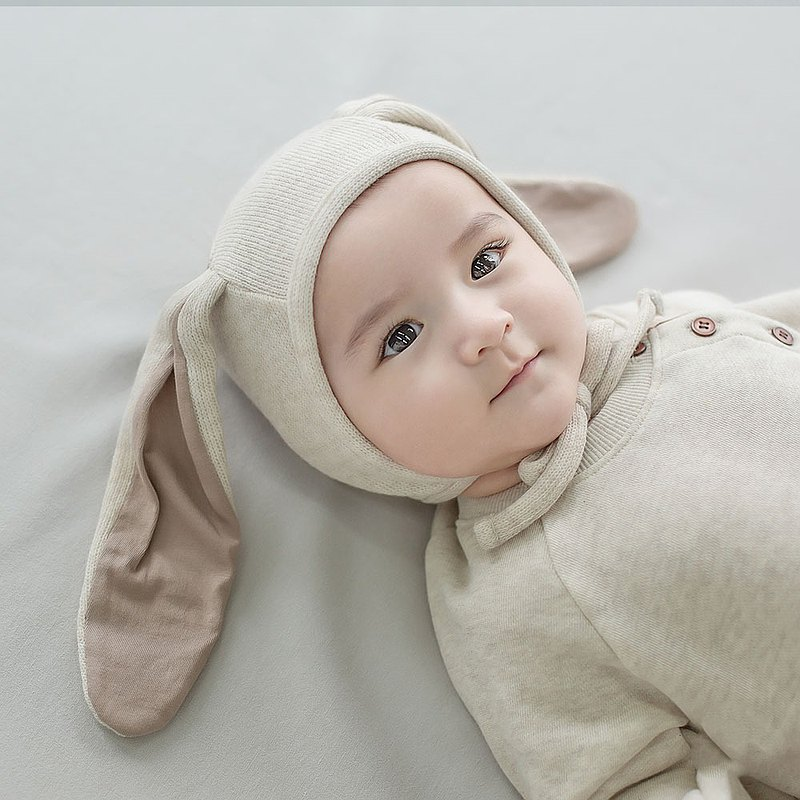 Happy Prince Korea made Hugme wool long-eared baby rabbit hat
