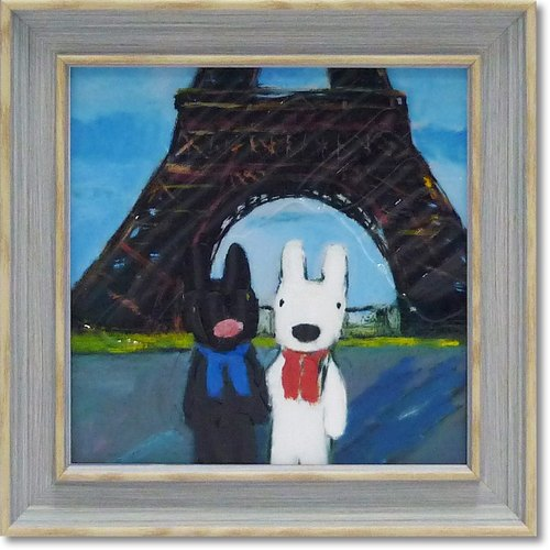 """Lisa and Casper"" mini with box copy painting - Paris Tower"