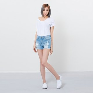 wbp-062 light blue stretch cut mid-length shorts