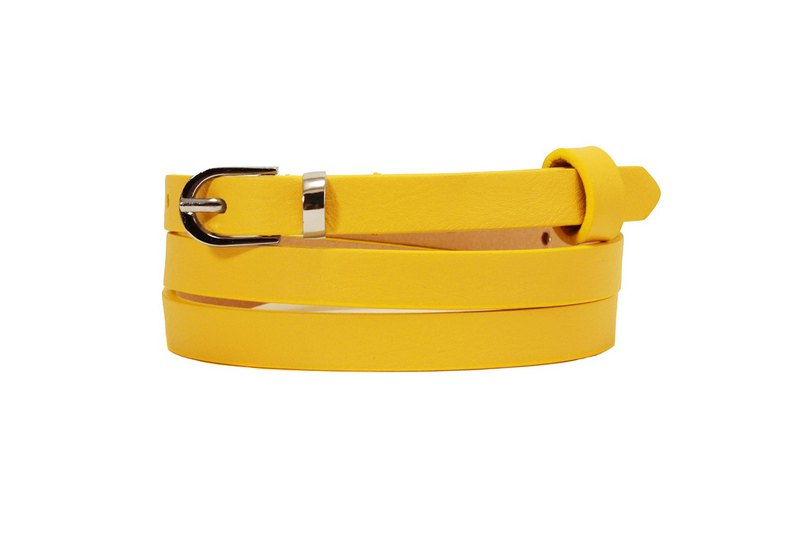 Yellow skinny belt, yellow women's belt, yellow belt, leather belt, thin belt