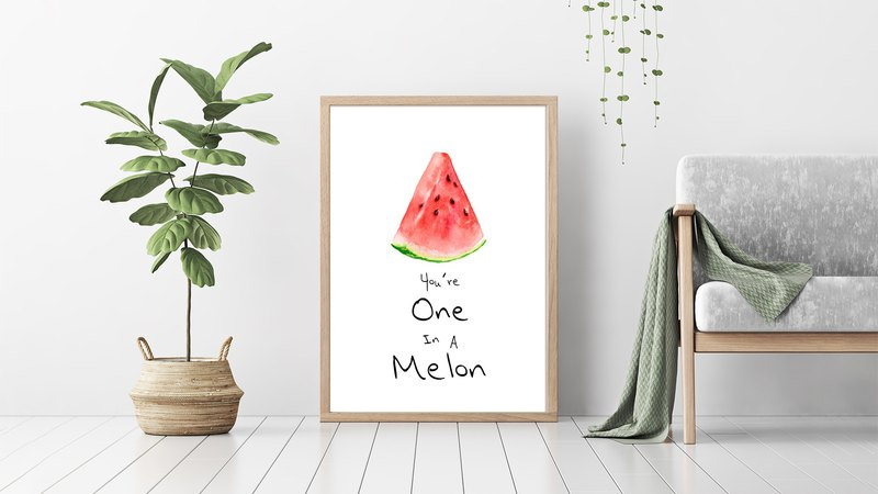 【Watermelon】Limited Edition Watercolor Print. Living Room Bedroom Fruit Poster.