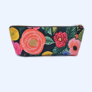 Rose Pencil Pouch Canvas Zipper Pouch, English Garden