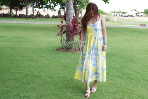 Uneven dyeing Tiered Dress <Summer lemon>