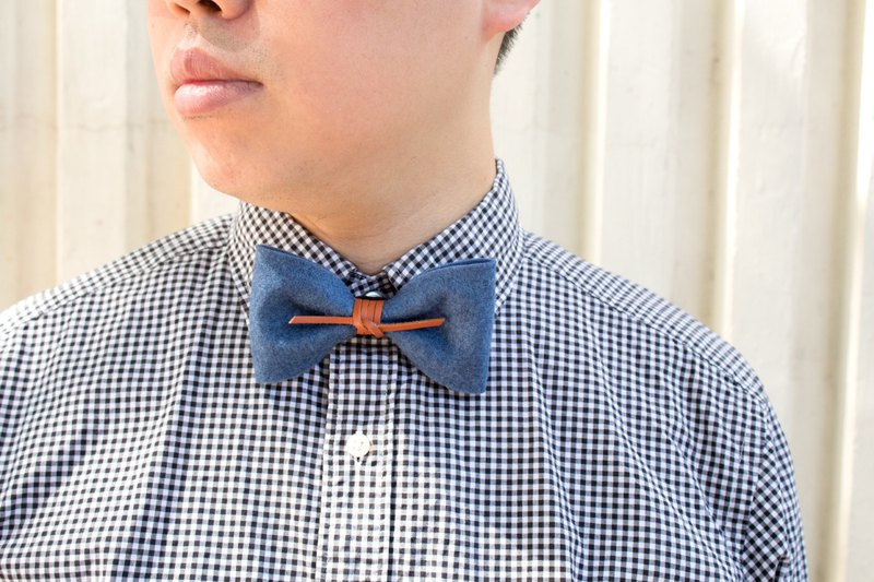 煲呔Bowtie bow tie tie groomsman leather retro wind felt cloth
