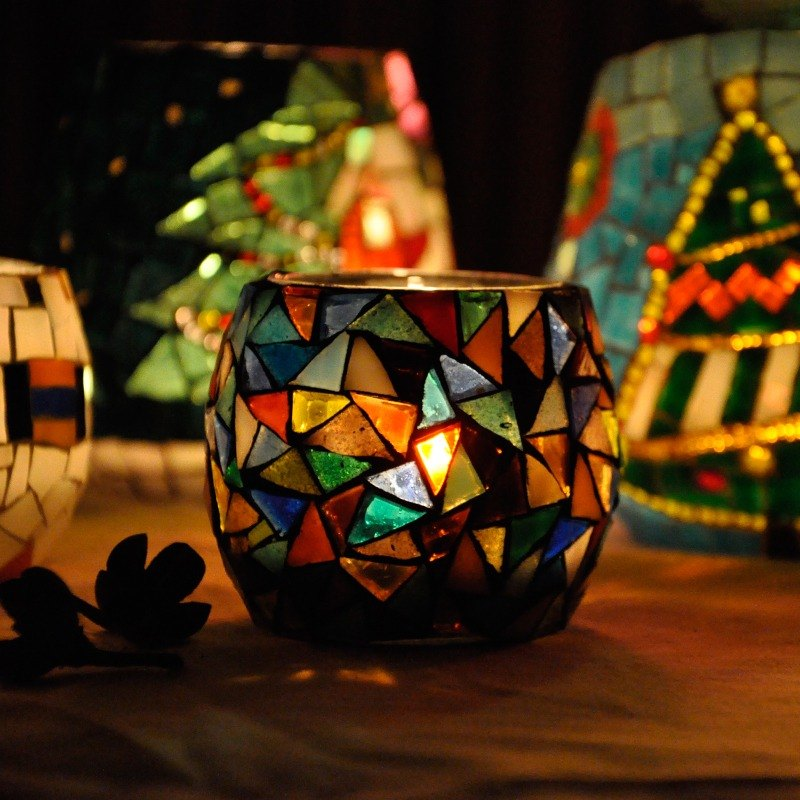 Original design handmade mosaic candlestick/ colorful / Christmas gift