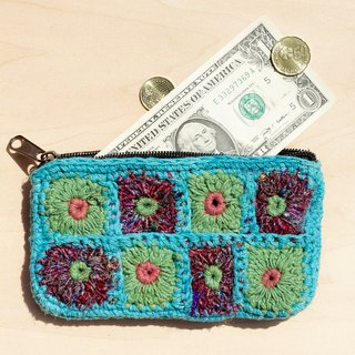 A limited edition hand-crocheted rectangle purse / storage bag / cosmetic bag - sky blue sari braided flowers forest