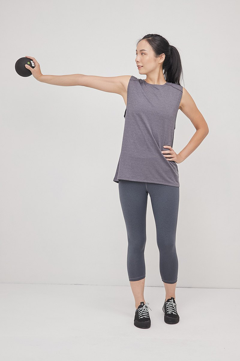 Chi has sleeveless dig back top_silver gray twist_yoga_hiking-climbing