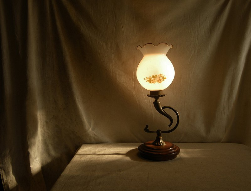 [Old Time OLD-TIME] Flower Glass Table Light*Only post office*