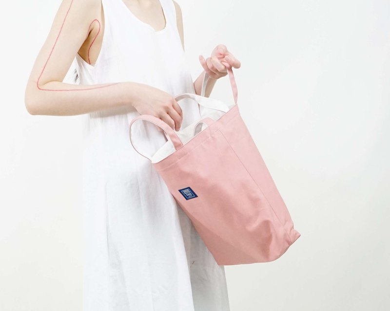 Two-color canvas three-use bag _ 藕 powder + beige