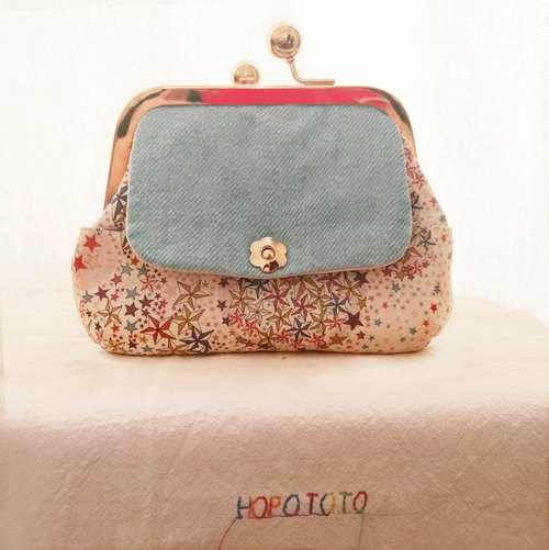 Twinkle Stars - Exclusive Print Stitch Two-Handed Clutch Crossbody Gold Bag Gift Travel Travel [HOPOTOTO]