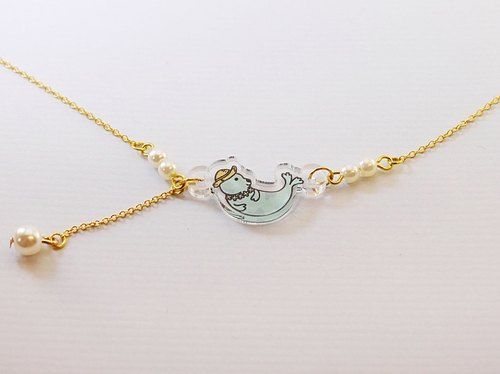 Mr. seals the daily / 925 sterling silver plated gold necklace / bracelet
