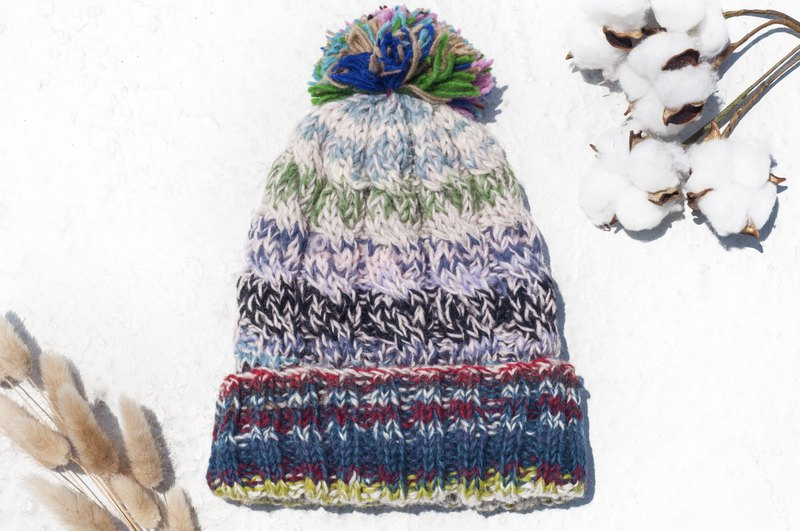 Hand-knitted pure wool hat / knit hat / knitted hat / inner brush hair hand-woven hat - Nordic Rainbow World