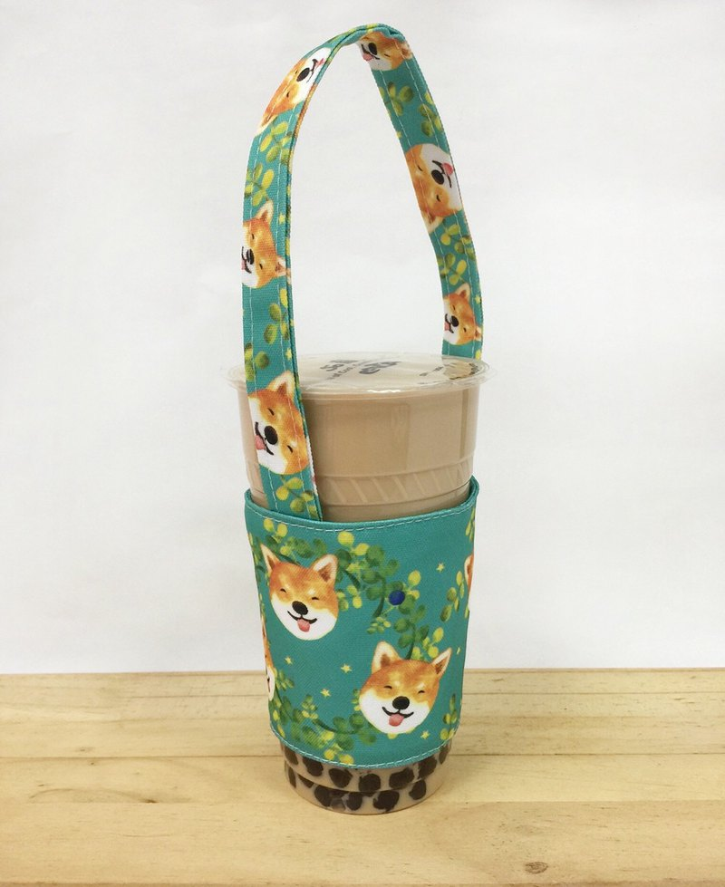 Beverage Cup Bag - Leaf Smile Orange Blossom Shiba