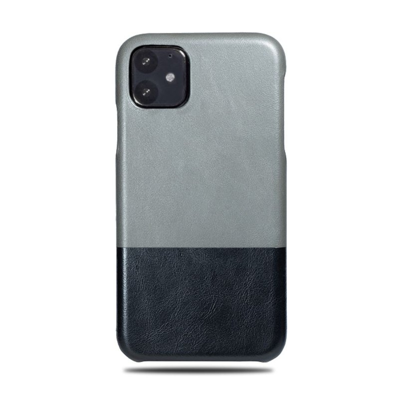 Customized light grey with black leather IPHONE 11 phone case
