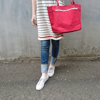 [BVL2.0/ Tote bag] No.8 washed paraffin canvas. Bright red