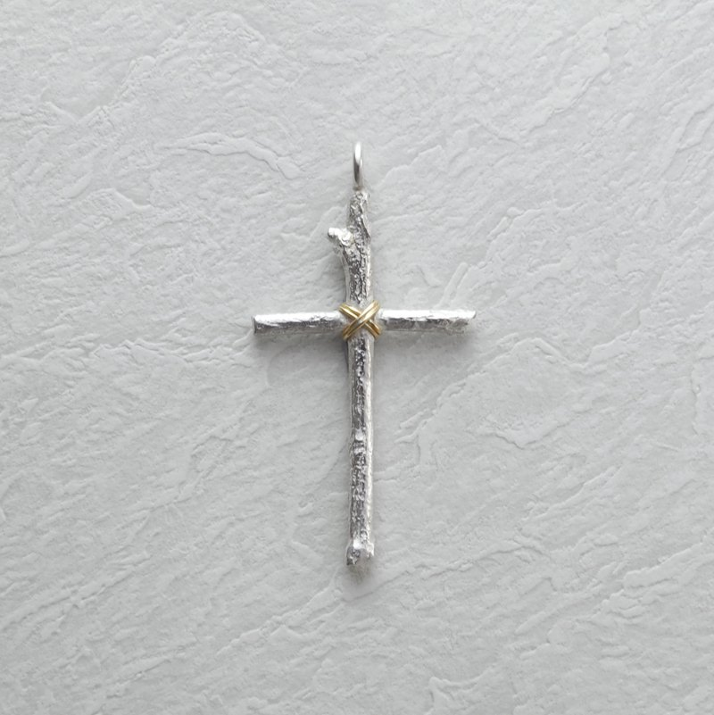 925 Silver Wood cross pendant with 18K Gold Wire
