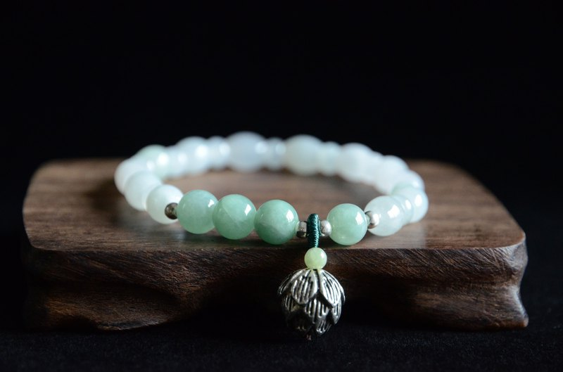 [青莲] natural jade fresh literary bracelet