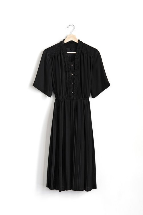 Vintage Black Vintage Short Sleeve Dress