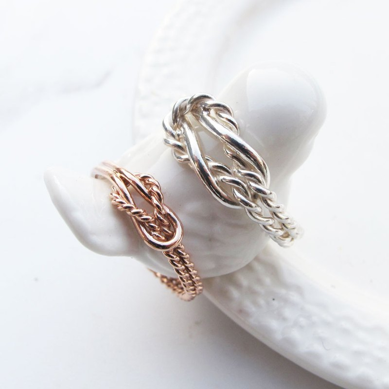 Big staff Taipa [handmade silver] flower travel × rose gold × sterling silver couple ring (pair)