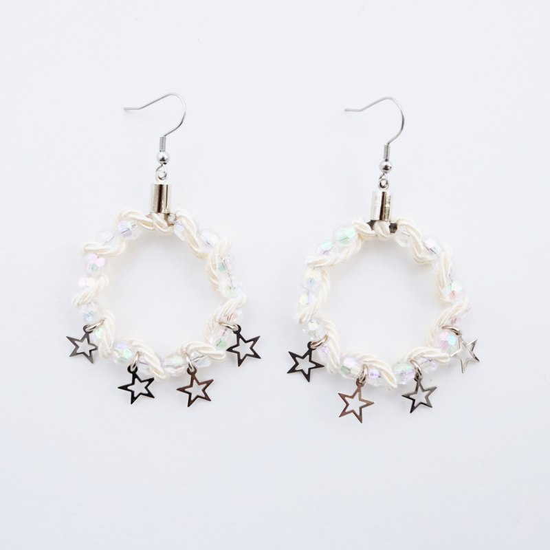 Bead hoop earrings with cream rope and star