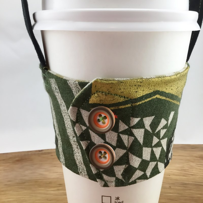 Green Jungle Owl - Eco-Friendly Drink Bag - Button Style