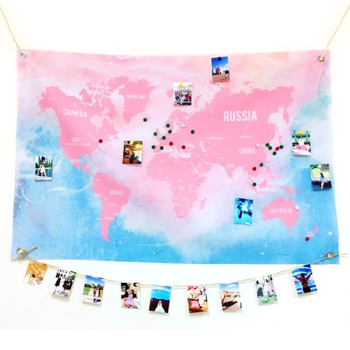 World Map Wall Decoration Fabric Light Blue Blue Gradient (Medium)