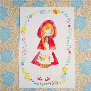 Postcard Little Red Riding Hood in the forest