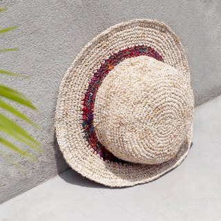 A limited edition hand-woven cotton saris line cap / knit cap / hat / straw hat / straw hat - hand twist hand-woven saris streaks