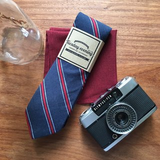Neck tie Navy-Red stripe Set