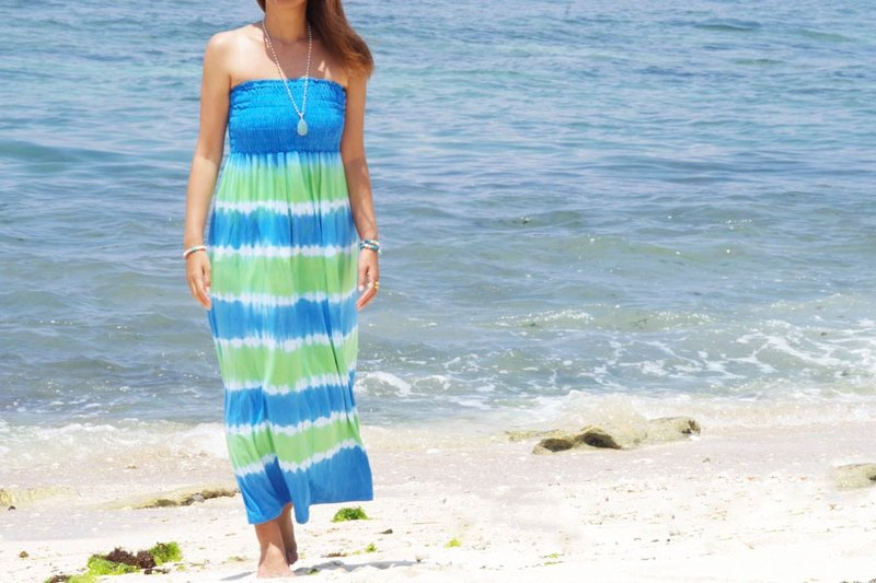 New! Tie Dye Strapless Resort dress <Ocean Green>