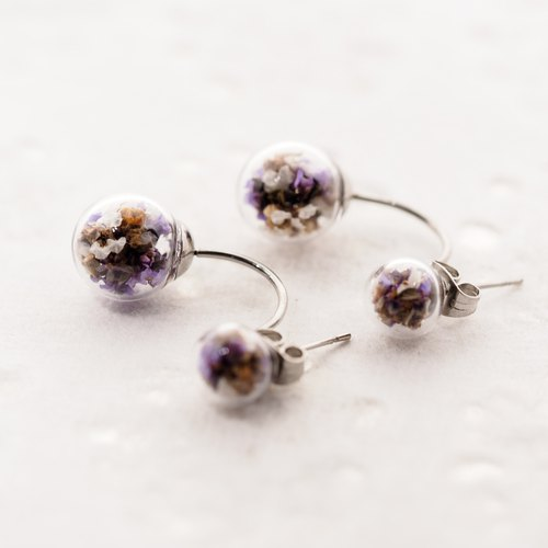OMYWAY Handmade Dried Flower - Double Sided Glass Ball 0.8cm + 1.2cm