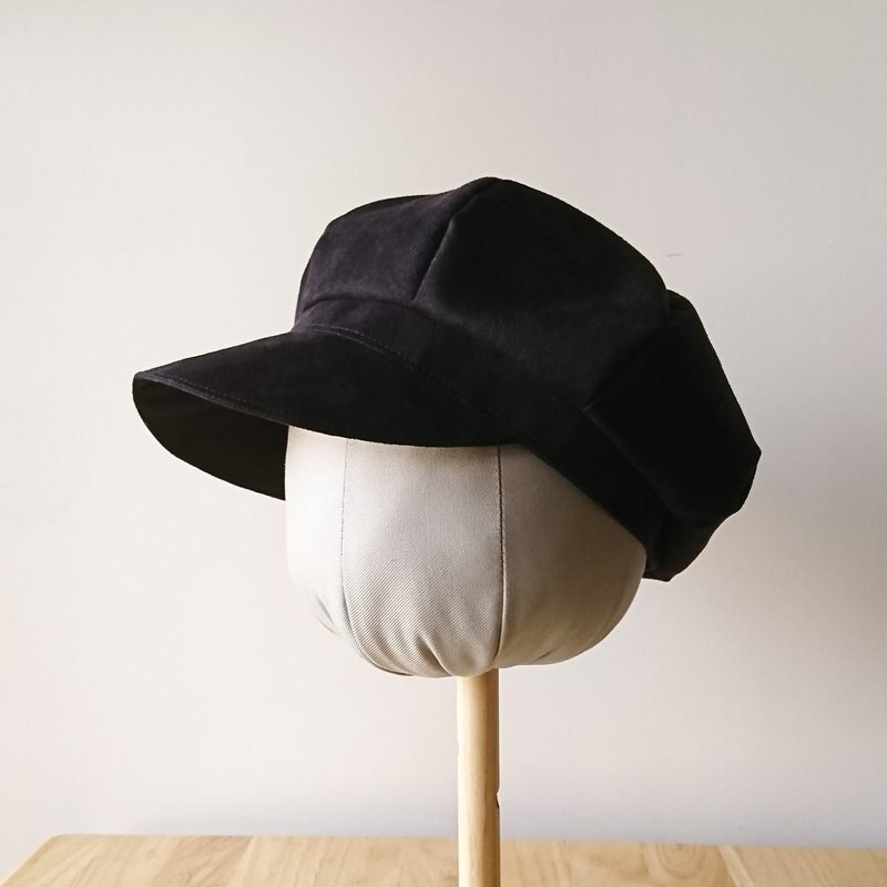 Shimon suede newsboy hat-obsidian cap can be customized