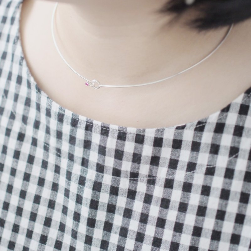 Ruby ruby ​​wire choker necklace 925 Silver