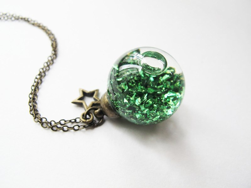 * Rosy Garden * Green planet rocks flowing in water inside glass ball necklace