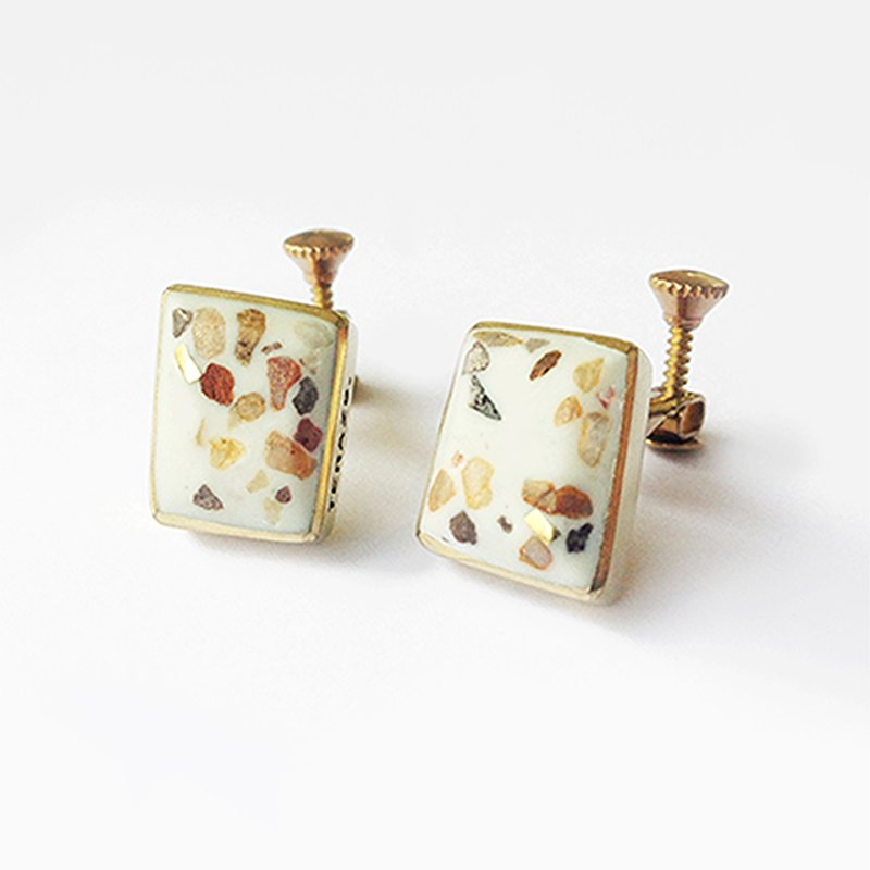 TERRAZZO-02 Brass Clip Earrings
