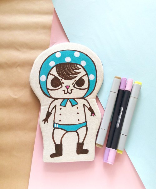 Handmade Hand paint swimsuit Bo Bo Thief  Cat pencil case beauty bag storge bag