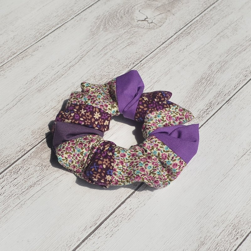 Purple small floral Hair Elastics Women Hair Accessories Cotton Hair Scrunchies