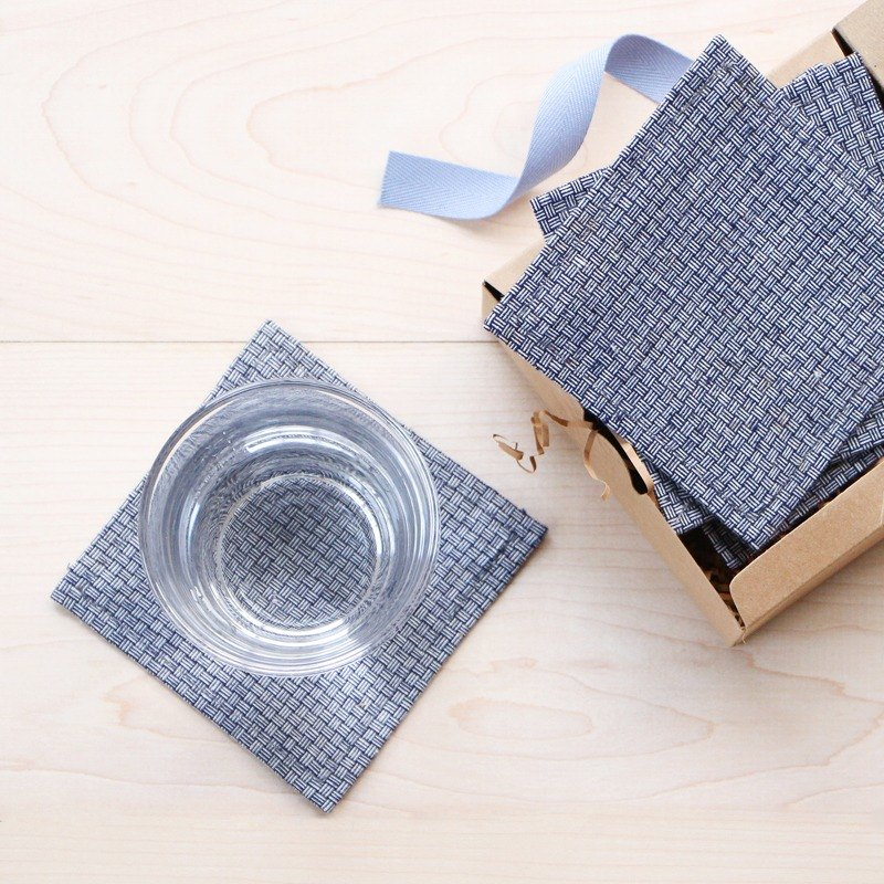 Limited Edition Hand Weaving Fabric Square Coasters Gift Box/Set of 4