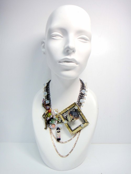 TIMBEE LO wolf castle style necklace red wine flower crystal opal