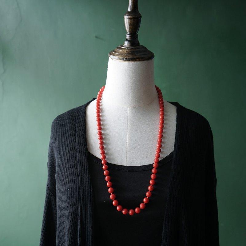 【古董飾品/西洋老件】VINTAGE橘紅塑膠串珠古著項鍊