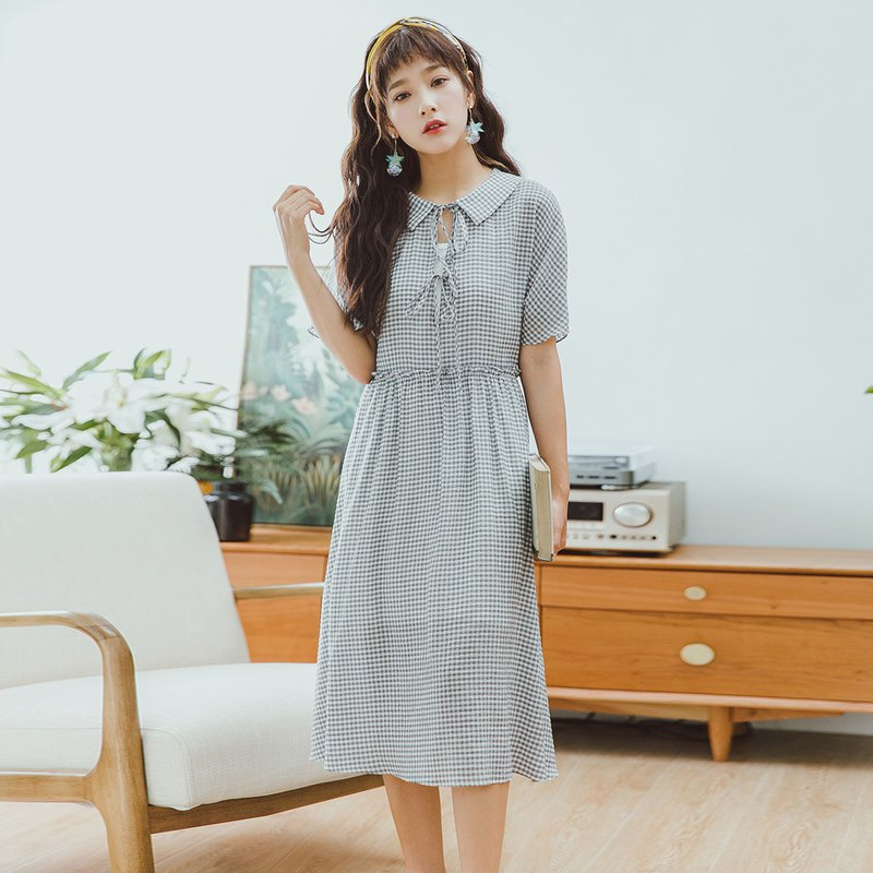 Anne Chen 2018 summer new front piece with plaid waist dress dress