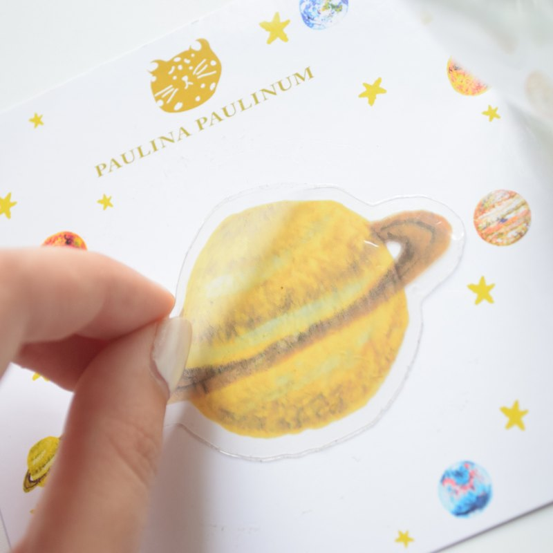 Galaxy Collection- Saturn transparent waterproof PVC sticker