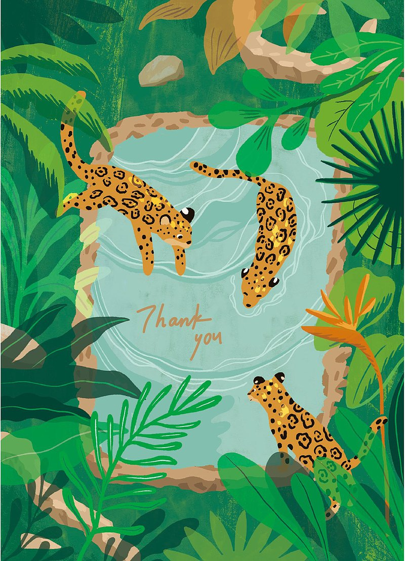 Illustration postcard-Satisfaction in the cold spring-Leopard