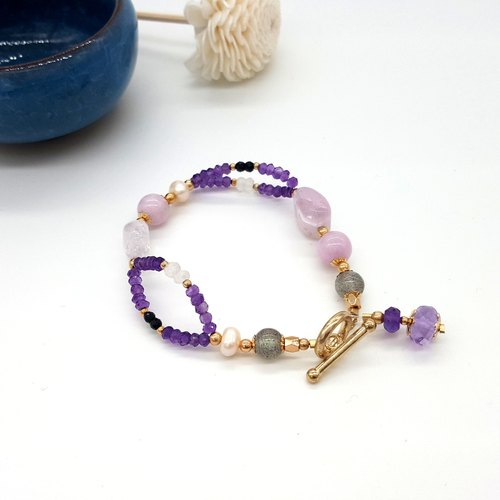 Crystal girl world - [birthstone in February] - Amethyst hand made natural crystal bracelet