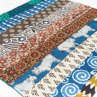 Handmade square towel patchwork square towel square scarf India woodcut printed square scarf - walking natural ethnic totem