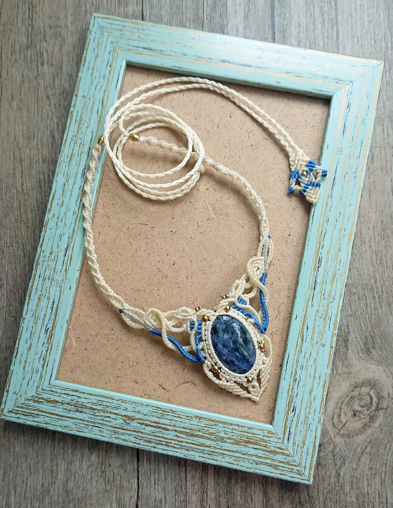 N63 Boho folk style South American wax line braided brass sodalite necklace