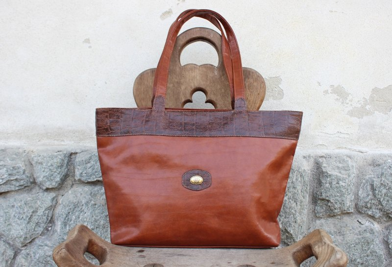 B163 [Vintage purse] (Italian) brown side backpack shoulder bag