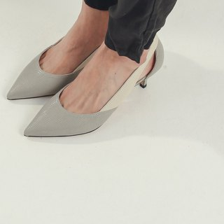 Streamline cutting hollow leather low-heeled shoes gray ash