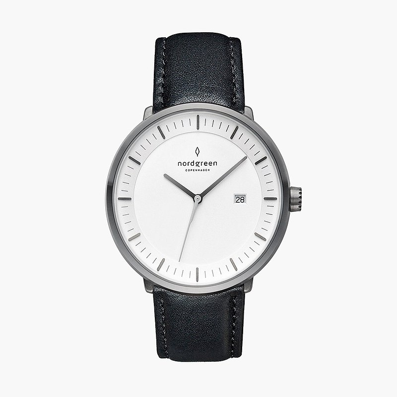 [Nordgreen] Philosopher Philosopher Space Gray Series Extreme Night Black Leather Strap Watch 40mm